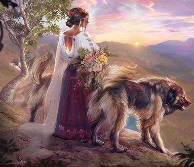 Фото Девушка с украшением на голове и букетом цветов в руках стоит рядом с собакой, by Kaloyan Stoyanov