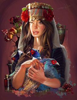 Фото Девушка с украшением на голове и с птицами в руках, by Kaloyan Stoyanov