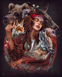 Фото Девушка с украшением на голове в окружении животных, by Kaloyan Stoyanov