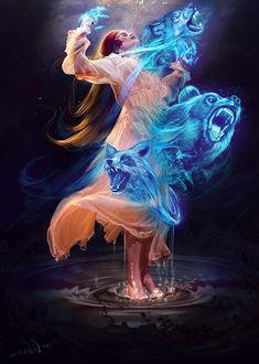 Фото Девушка с голубыми духами волка и медведя стоит в воде, by Kaloyan Stoyanov