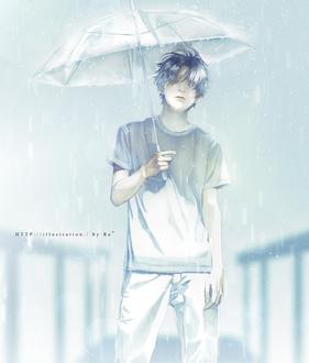 Фото Грустный парень под дождем, by Re°