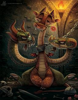 Фото Трехглавый дракон в подземелье, by Cryptid-Creations