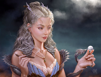 Фото Девушка с дракончиком в руке, Chalky Nan