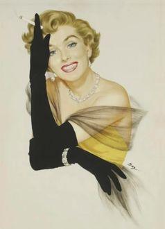 Фото Кокетливая блондинка в черных перчатках с сигаретой в стиле pin-up / пин-ап, by Ben-Hur Baz