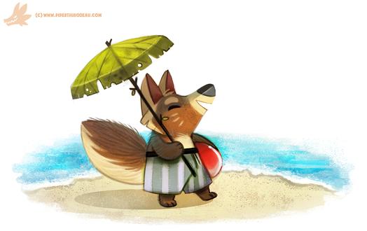 Фото Лисичка с зонтом у моря, by Cryptid-Creations
