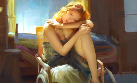 Фото Девушка сидит на кресле, поджав ножку, by chen meiyu