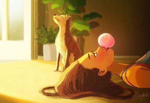 Фото Девушка с пузырем из жвачки лежит на полу, где сидит щенок, by Yaoyao Ma Van