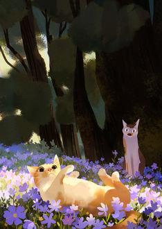 Коты на лугу среди фиолетовых цветов, by tian yuan