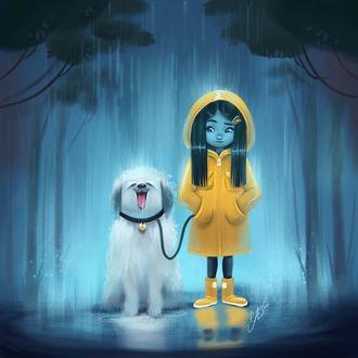 Фото Девушка в желтом дождевике с белым псом на поводке, by Jess Nielsen
