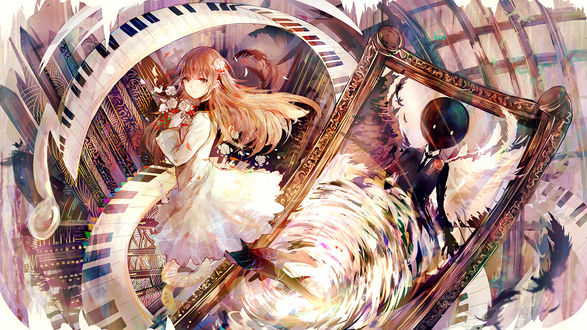 Фото Deemo / Димо и девочка с цветами из игры Димо / Deemo