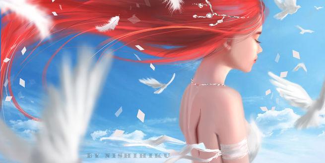 Фото Девушка с яркими волосами в окружении перьев, by Nishi hiku
