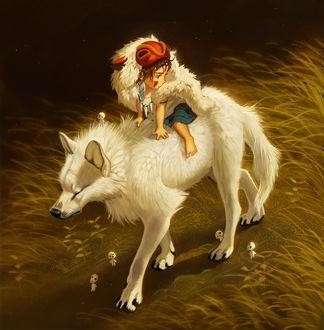 Фото Маленькая Сан / San верхом на волчице Моро / Moro и лесные духи из аниме Принцесса Мононокэ / Princess Mononoke, by Pixxus