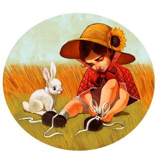 Фото Белый кролик смотрит как девочка в шляпке завязывает шнурки, by Pixxus