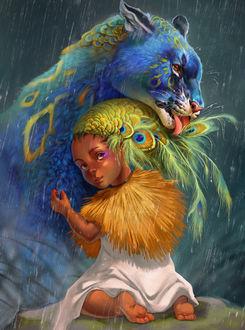 Фото Фантастический леопард с голубой шерстью, которого обнимает девочка с волосами перьями, by Pixxus
