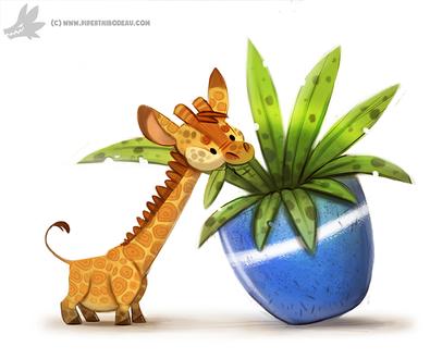 Фото Карликовый жираф ест комнатные растения в горшке, by Cryptid-Creations