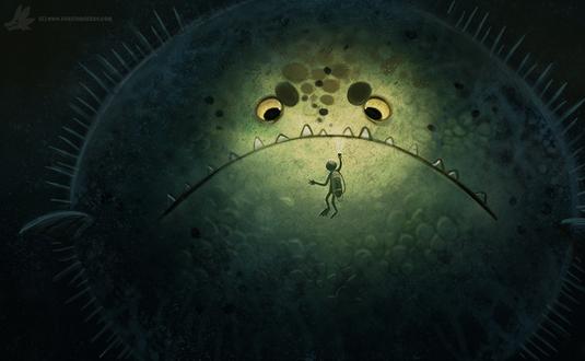 Фото Огромная рыба еж перед человеком, by Cryptid-Creations