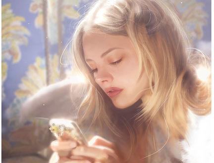 Фото Девушка с телефоном в руках, by Joaquin Acevedo