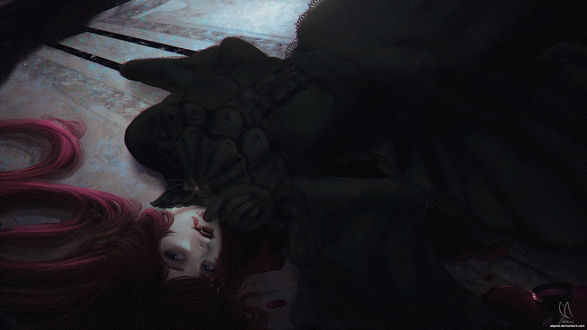 Фото Девушка-вампир лежит на полу, by Alqmia