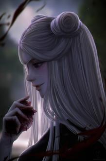 Фото Белокурая девушка в повязке на глазу держит в руке сердце, истекающее кровью, by Alqmia