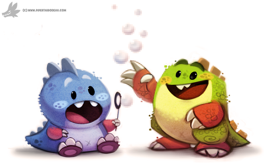 Фото Два дракончика из игры Bubble Bobble, by Cryptid-Creations