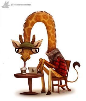 Фото Жираф за столом пьет кофе за ноутбуком, by Cryptid-Creations