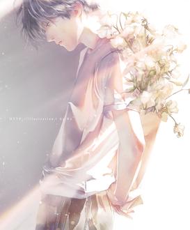 Фото Парень с цветами за спиной, by Re°