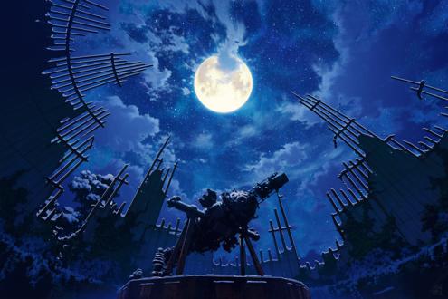 Фото Разрушенная обсерватория с телескопом под ночным небом, by mocha