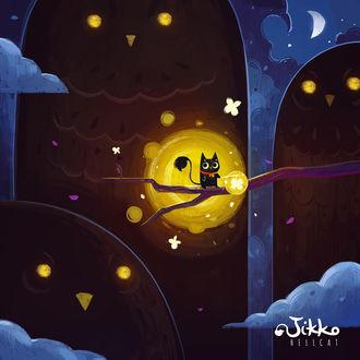 Фото Черный котик Jikko сидит на ветке дерева, а за ним наблюдают в ночи большие совы, персонажи иллюстраций Jikko Hellcat, by Shirin Rafie