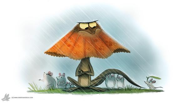 Фото Ящерка с капюшоном прячет мышек от дождя, by Cryptid-Creations