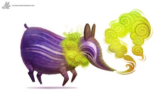 Фото Сиреневое животное испускает зеленый дым, by Cryptid-Creations