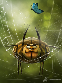 Фото Паук на паутине пытается поймать бабочку, by Cryptid-Creations