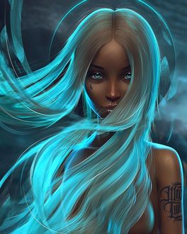 Фото Девушка с голубыми волосами, by Max Twain