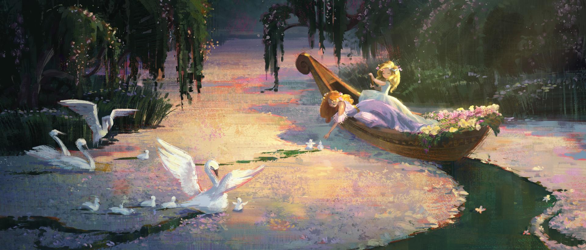Фото Две девушки в лодке на озере, усыпанном цветами, в котором плавают лебеди со своими птенцами, by Cathleen McAllister