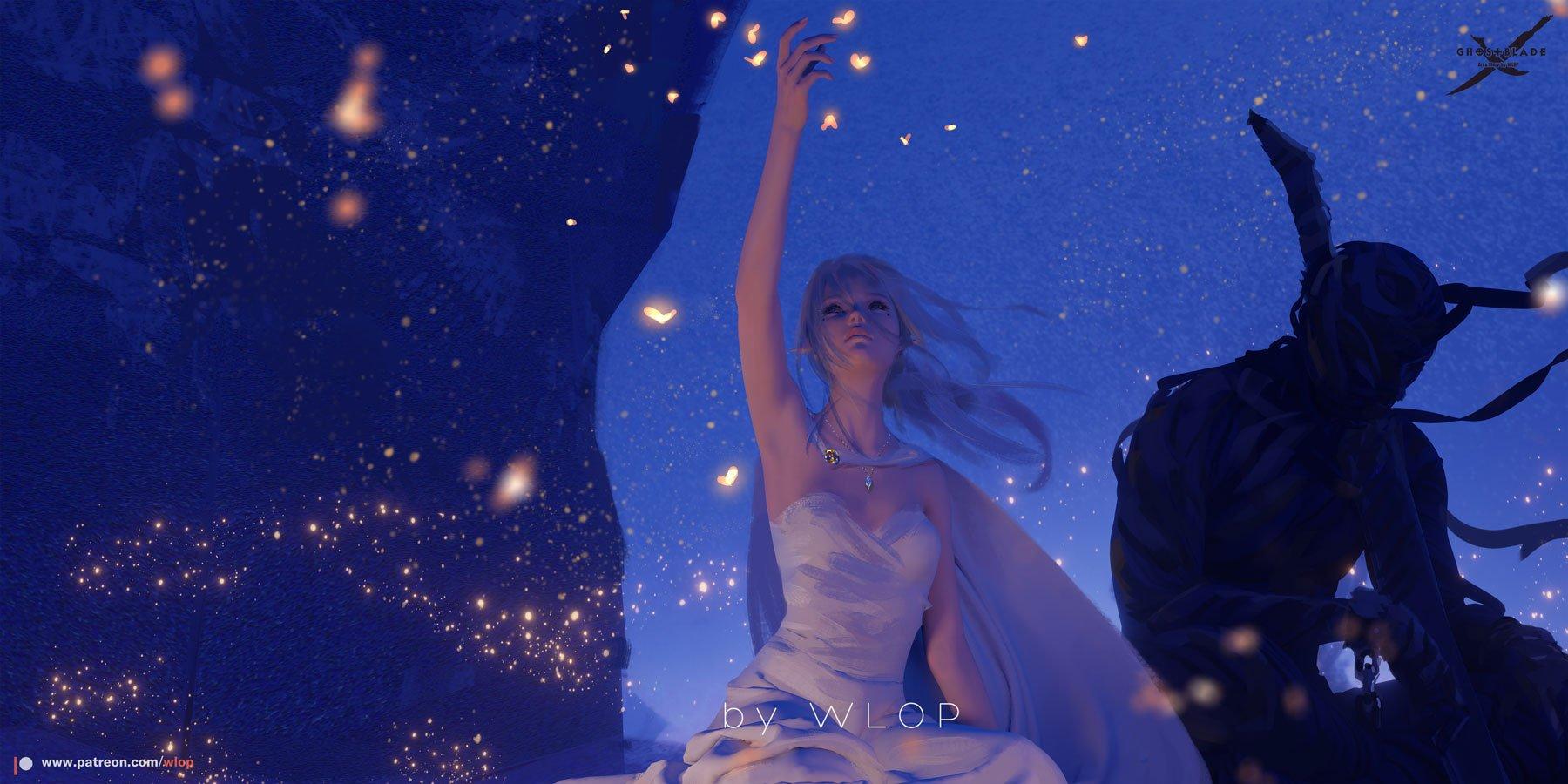 Фото Девушка - эльфийка в белом платье подняла руку к светящимся мотылькам, рядом сидит мужчина-воин, by WLOP