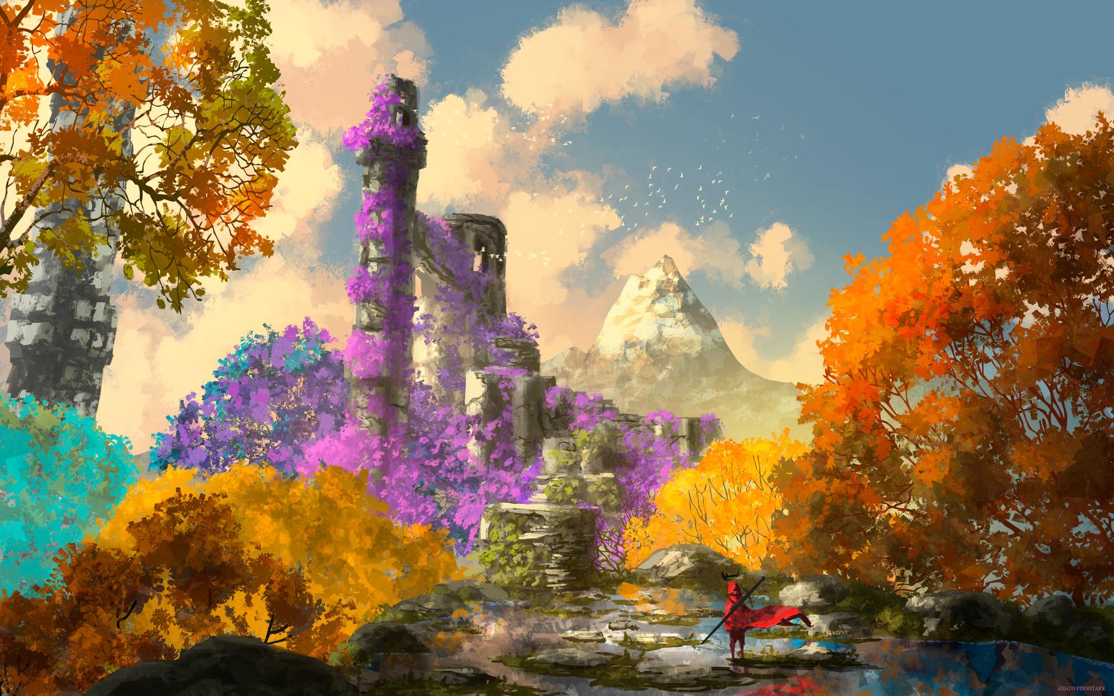 Фото Человек в красном плаще стоит напротив заброшенного замка, утопающего в сиреневых цветах, by AnatoFinnstark