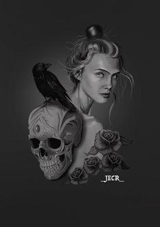 Фото Девушка с черепом, на котором сидит ворон, by Jose Enrique Carrasco Ruiz