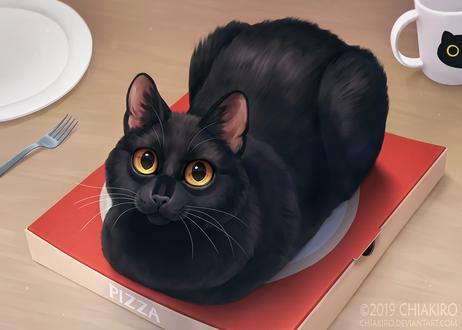 Фото Черная кошка лежит на коробке с пиццей, by Chiakiro