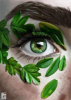 Фото Красивый женский глаз с зелеными листьями, by Veres Gergely