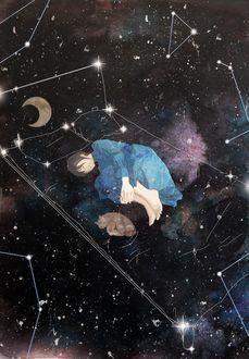 Фото Девушка и кошка спят среди созвездий