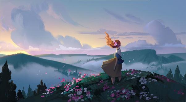 Фото Девушка стоит на холме и смотрит вдаль, by Cathleen McAllister