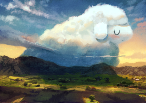 Фото Овечка-облако в небе над горами