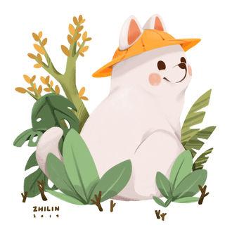 Фото Белая собачка в желтой шляпке, by Zhi Lin Lim