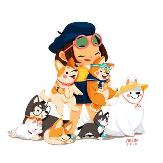 Фото Девушка в окружении собак и кошек, by Zhi Lin Lim