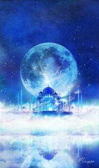 Фото Замок на фоне полной луны
