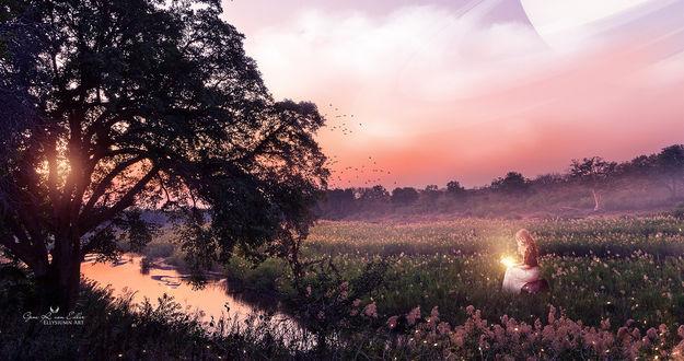 Фото Девушка со светящейся книгой сидит на цветущем поле у реки, вдалеке видна собака, by Ellysiumn