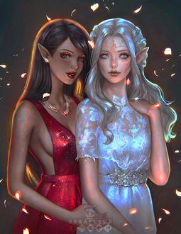 Фото Две девушки - эльфийки со светлыми и темными волосами стоят рядом, by Abigail Diaz