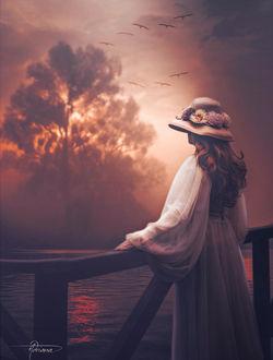 Фото Девушка в шляпке любуется природой, by Adriana-Madrid