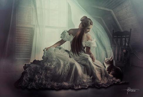 Фото Девушка сидит рядом с кошкой, by Adriana-Madrid