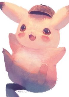 Фото Пикачу / Pikachu из аниме Покемон / Pokemon в образе детектива, by manino