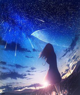 Фото Девушка с прозрачным зонтом под звездопадом, by JW